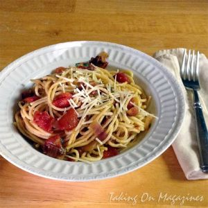 Taking On Magazines: Fat Spaghetti with Bacon & Cherry Tomato Sauce